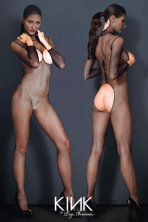 Combinaison résille Hooded Fishnet : Combinaison à cagoule en résille avec une large ouverture sur les fesses, les seins, et la nuque.